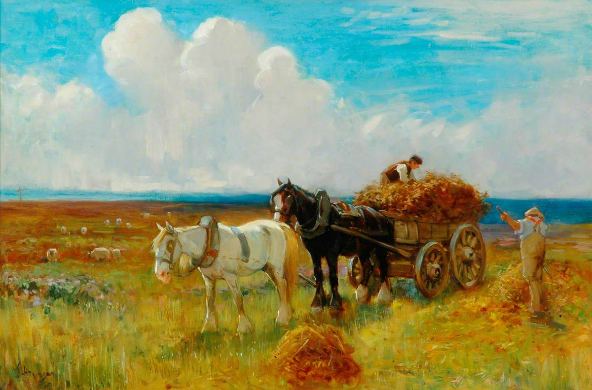 Hay Cart Pulled By Two Horses Art Uk