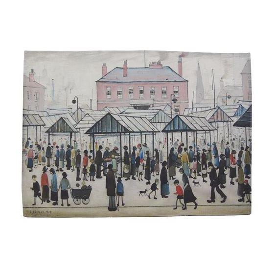 L. S. Lowry 'Market Scene, Northern Town' (1939) tea towel