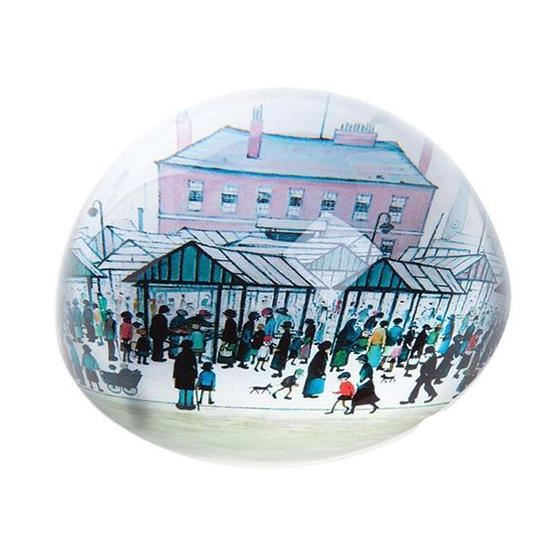 L. S. Lowry 'Market Scene, Northern Town' (1939) dome paperweight
