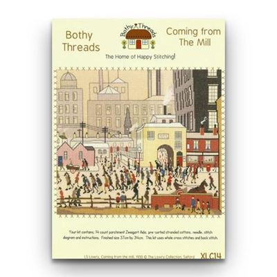 L. S. Lowry 'Coming from the Mill' (1930) cross stitch kit