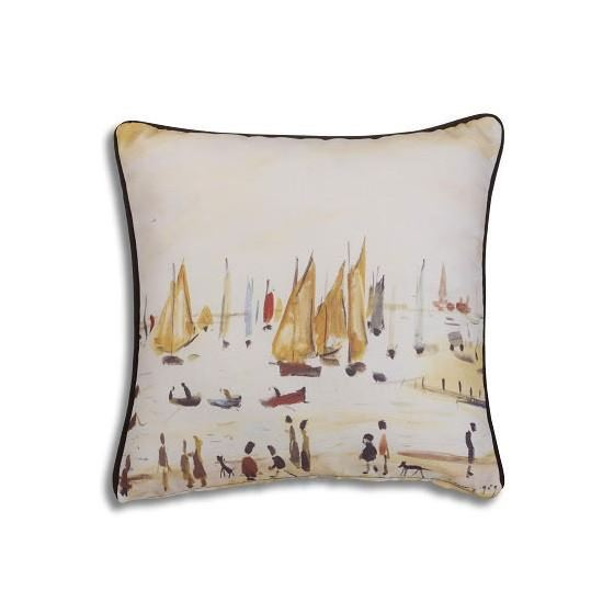 L. S. Lowry 'Yachts' (1959) cushion cover
