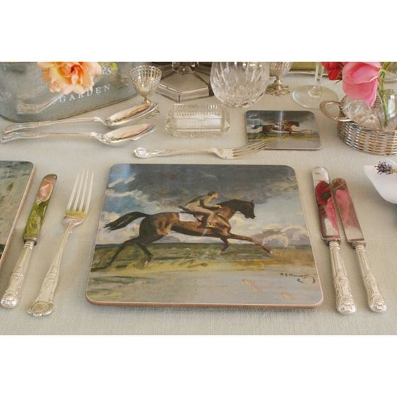 Alfred Munnings 'Going up the Canter, a Boy Exercising a Racehorse' square placemat