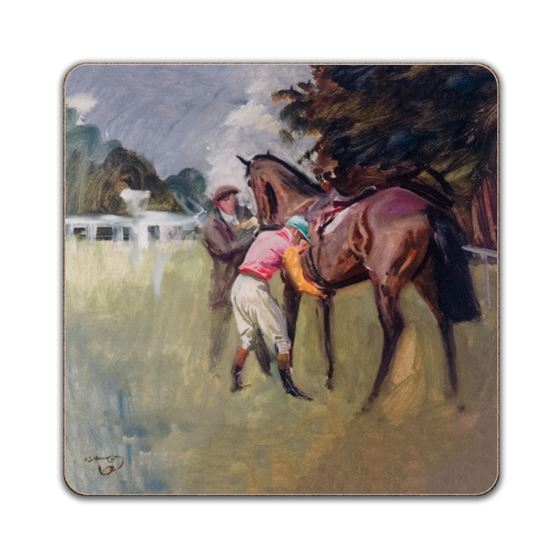 Alfred Munnings 'Unsaddling of a Bay Racehorse, Stanley Wooton Colours' square placemat