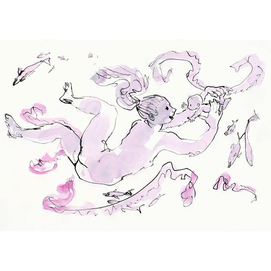 Quentin Blake 'Mothers and Babies Underwater' limited edition print