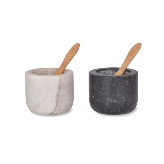 Marble and granite salt and pepper pots