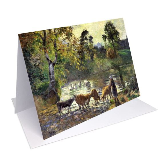 Camille Pissarro 'The Pond at Montfoucault' greetings card - A6