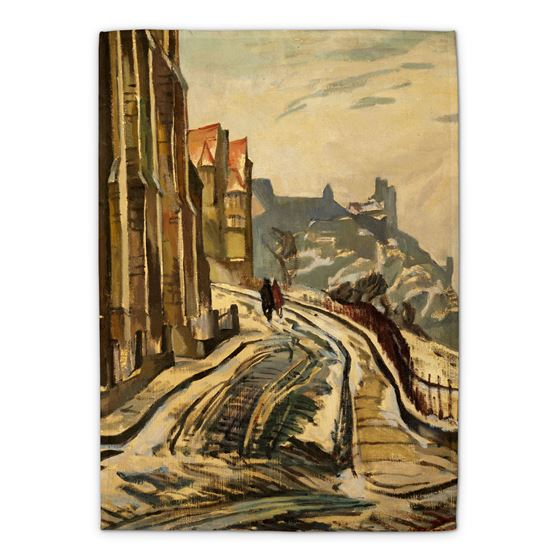 William Crozier 'View from the Mound, Edinburgh, Looking West' tea towel