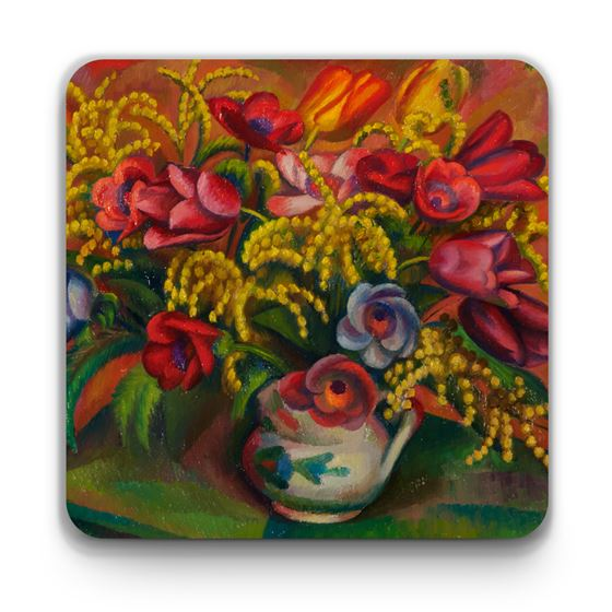 Mark Gertler 'Tulips and Mimosa' coaster