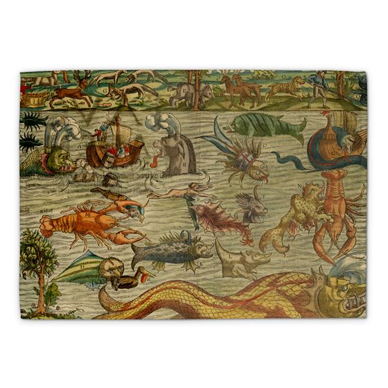 Sebastian Münster 'Mostri Marini et Terrestri... (Monsters of Sea and Land...)' tea towel