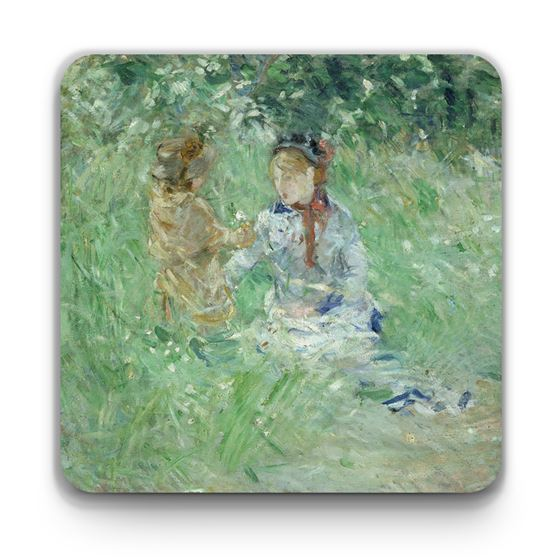 Berthe Morisot 'Woman and Child in a Meadow at Bougival' coaster