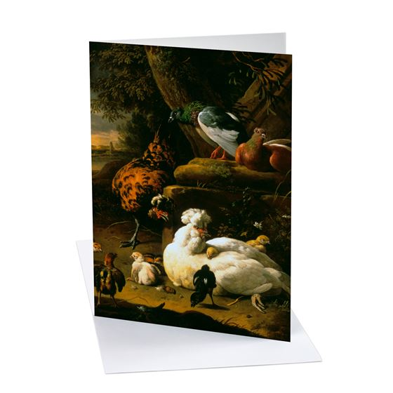 Melchior de Hondecoeter 'A Hen with Chicks, a Rooster and Pigeons in a Landscape' greetings card - A6