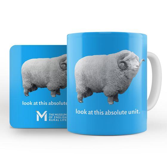 'The Absolute Unit' mug and coaster – blue