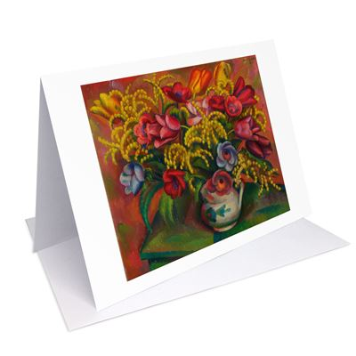 Mark Gertler 'Tulips and Mimosa' greetings card