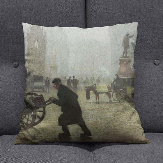 Adolphe Valette 'Albert Square, Manchester' cushion