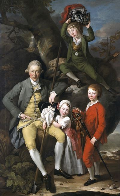 Henry Knight (1738–1772), of Tythegston, with His Three Children