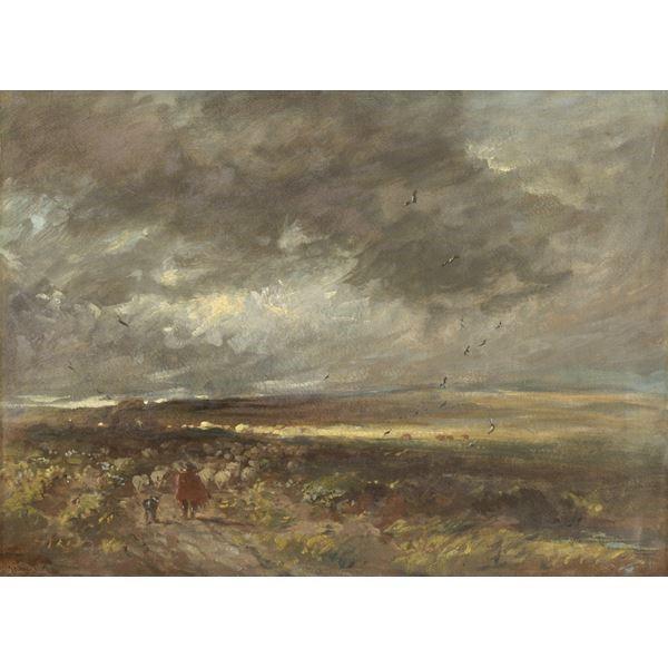 Moorland Landscape: Shepherd and Sheep