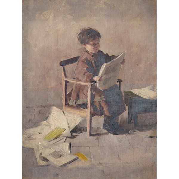 Seated Child Reading a Newspaper