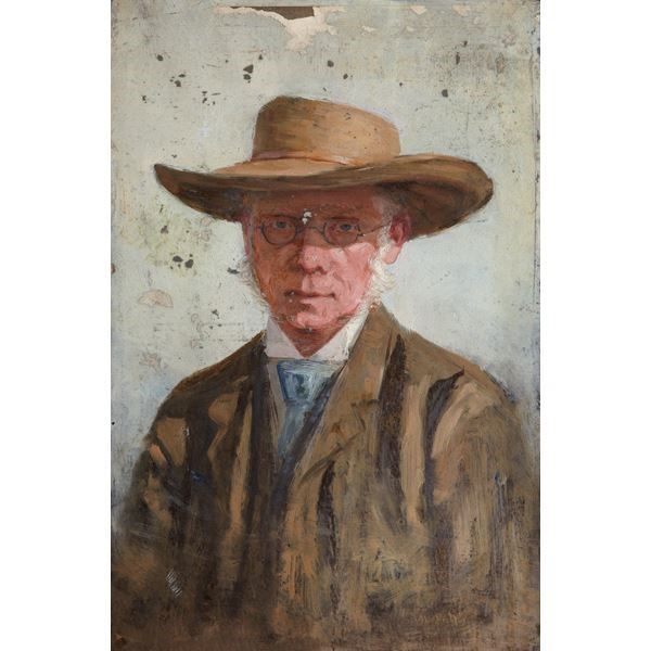 Portrait of a Man Wearing a Wide-Brimmed Hat