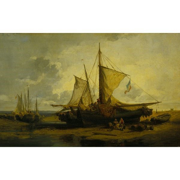 Beach Scene with Fishing Boats
