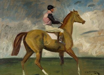 A Chestnut Racehorse with Jockey up in a Landscape