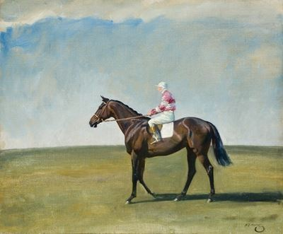 A Bay Racehorse with Jockey up, in Pink and White Striped Colours, in a Landscape