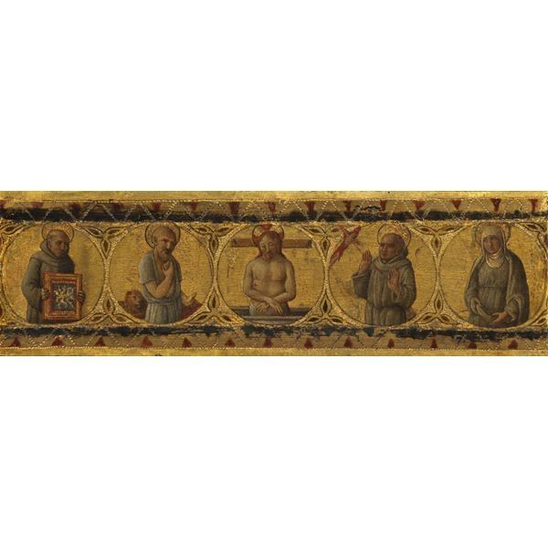 Predella Panel – Dead Christ with Saints Bernardino, Jerome, Francis and Clare