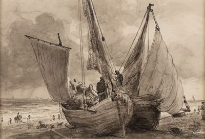 A Lugger and Hog Boat, Brighton