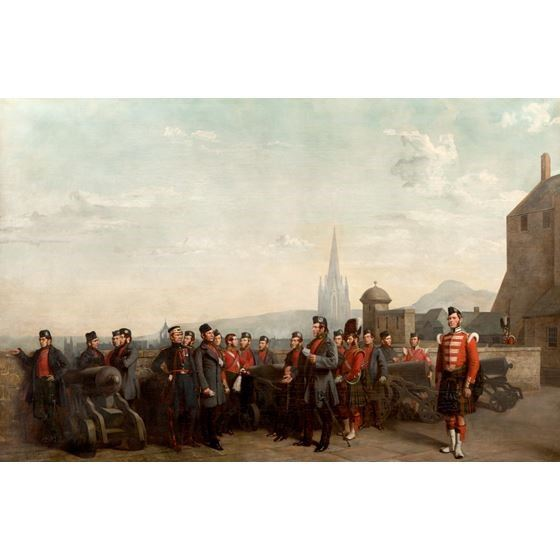 Group of the 79th beside the Mill Mount Battery, Edinburgh Castle, 1852