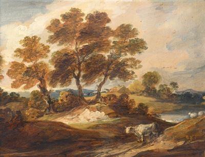 Landscape with a Cow and a Sheep