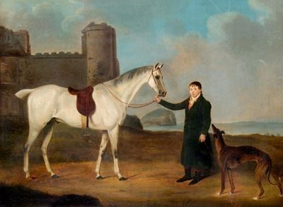 Man With a Horse and a Greyhound