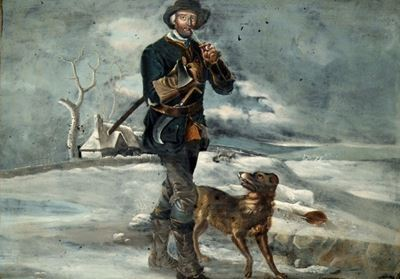 A Woodsman and His Dog in a Wintery Landscape