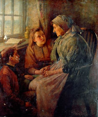 Old Lady with Two Children