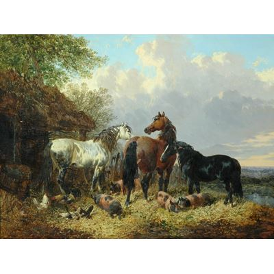 Horses in the Farmyard