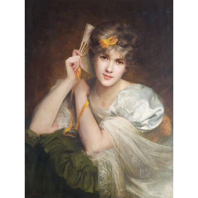 Portrait of an Unknown Woman with a Fan