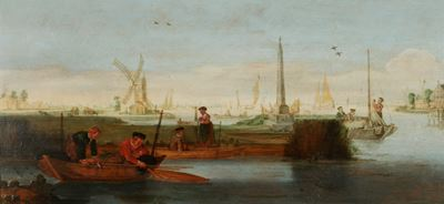 River Scene with Fishermen in a Rowing Boat in the Foreground