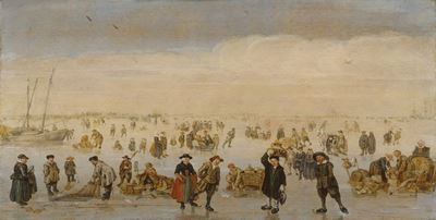 Winter Scene with Numerous Figures on the Ice