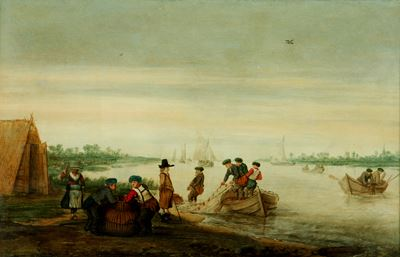 River Scene with Fishermen Drawing Nets