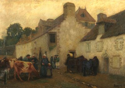 A Cattle Market in Pont-Croix, Brittany