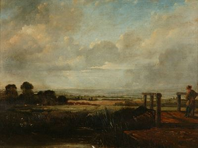 Landscape with a Fisherman on a Bridge