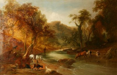 Cattle Crossing a Stream and a Man Fishing
