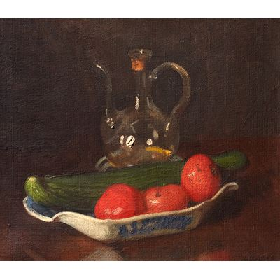 Still Life with a Cucumber and Tomatoes
