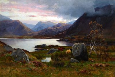 Sunset, Highland Landscape with Cattle