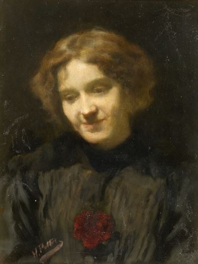 Portrait of a Girl with a Large Red Flower