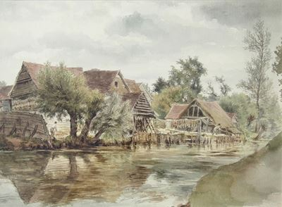 Wooden Buildings by Water, Bushey (?)