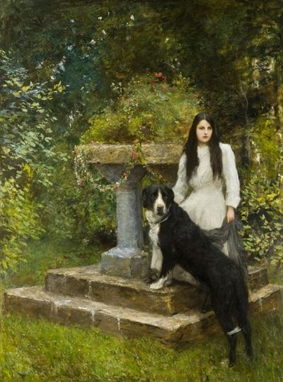 Gwenddydd (1893–1927), and Her Dog in a Garden