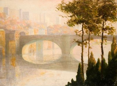 View across a River with an Arched Bridge