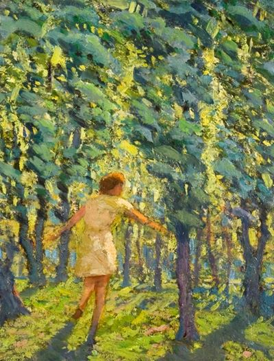 A Child Running through a Sunlit Wood