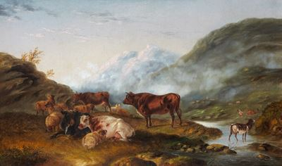 Cattle and Sheep in a Highland Landscape