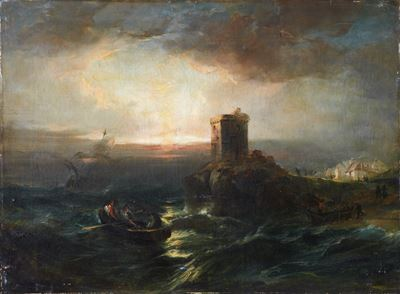 Seascape with Castle and Boats