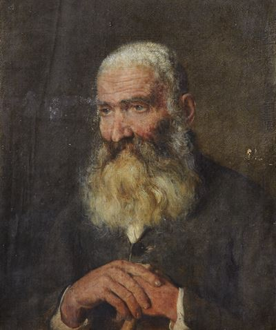 Portrait of a Man with a Long Beard and a Walking Stick